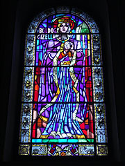 "Picture of Blessed Gisela Queen of Hungary on a stained glass window in the Holy Right Chapel (""Szent Jobb-kápolna"") - Budapešť, Maďarsko"