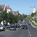 High street of Hévíz with the Holy Spirit Roman Catholic church on the hill - Hévíz, Macaristan