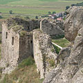 The survived wall remains of the so-called Italian bastion from around 1530, viewed from a cliff in the Upper Castle - Sirok, Ungaria