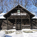 The Tourist Museum in the eclectic style wooden chalet, this is a reconstruction of the old Báró Eötvös Lóránd Tourist Shelter, the first tourist shelter in Hungary (the original house was designed by József Pfinn and built in 1898) - Dobogókő, Hongrie