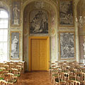 The upstairs Ceremonial Hall, with unique black and white pictures on the wall from the Greek mythology, imitating copperplate engravings - Pécel, Hongrie