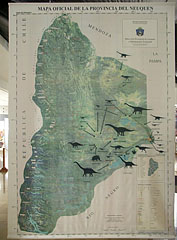 Map of the Neuquén province of Argentina with the discovered dinosaurs - Budapest, Unkari