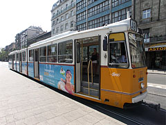 A yellow tram 49 in the station - Budapeszt, Węgry