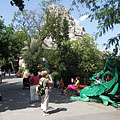 "Green iron dragon in front of the ""Magical Hill"" (Great Rock) - Budapeszt, Węgry"