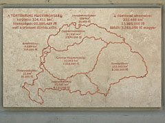 A marble tablet near the Country Flag, with the map of the Kingdom of Hungary before and after the World War I (the Threaty of Trianon), showing its big areas and the population that were divided among the neighbouring countries - Szolnok, Унгария