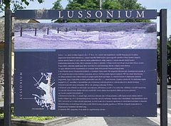 Information board in the main square of the so-called Lussonium ruin garden - Paks, Ungarn