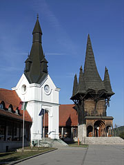 The Swabian and the Székely towers of the Village Community Center represents the common destiny of these two nations - Kakasd, Ungarn