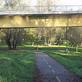 The section of the bicycle path under the Drava Bridge - Barcs, Hongarije