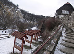 The gate of the Pálvölgyi Cave on the street, the area was originally a quarry or stone-pit - Boedapest, Hongarije