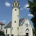 The Lutheran church of Szolnok was designed based on the castle church of Wittenberg, Germany - Szolnok, Hongarije