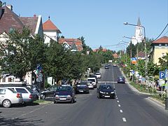 High street of Hévíz with the Holy Spirit Roman Catholic church on the hill - Hévíz, Ungari