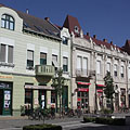 Beautifully renovated two-storey residental buildings on the street that is transformed to a pedestrian only zone - Hódmezővásárhely, Ungari