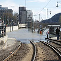 The Danube River is boycotting the public transport on the Pest riverside as well, the tracks of the tram line 2 at the Chain Bridge is under the water, the tram's tunnel under the bridge is almost full of water - Budapest, Ungarn