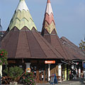 Shopping arcade with wigwam-like roof - Fonyód, Ungarn