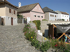 A cobbled street decorated with flowers, and with the atmosphere of Tokaj-Hegyalja wine region - Szentendre, Ungarn