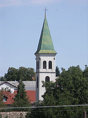 The steeple (tower) of the Evangelical Lutheran Church of Nógrád - Nógrád, هنغاريا