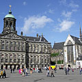"The Royal Palace (""Koninklijk Paleis"") and the Niuwekerk (New church) - Amsterdam, Netherlands"