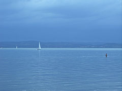 The view of Lake Balaton from the free beach - Balatonföldvár, Hungary