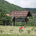 "The welcome sign of the lookout point called ""Szépkilátó"" beside the road - Balatongyörök, Hungary"