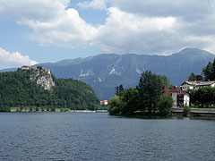 Panorama of Lake Bled, and the high mountains of the Julian Alps in the distance - Bled, Slovenia