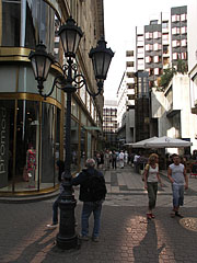 The Régi posta Street with a three-way lamp post - Budapest, Hungary