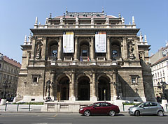 The main facade of the Opera House of Budapest, on the Andrássy Avenue - Budapest, Hungary