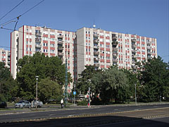 High-rise panel buildings (block of flats) in the housing estate, they were built in the socialist era - Budapest, Hungary