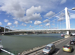The slender Elisabeth Bridge over River Danube - Budapest, Hungary