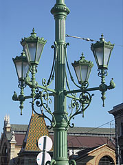 "Ornate four-way lamp post on the Liberty Bridge (""Szabadság híd"") - Budapest, Hungary"