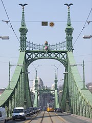 The view of the Liberty Bridge from the Pest bank of the Danube - Budapest, Hungary