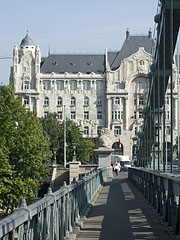 The Gresham Palace viewed from the Széchenyi Chain Bridge - Budapest, Hungary