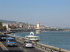 The lower embankment in Buda, as well as the Danube River and the Széchenyi Chain Bridge, viewed from the riverbank of Buda - Budapest, Hungary
