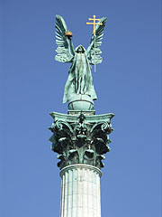 Statue of Archangel Gabriel on the Millennium Memorial (or Millenial Monument) - Budapest, Hungary