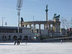 The City Park Ice Rink with the Millenium Memorial (or monument) - Budapest, Hungary