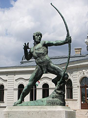 Statue of a bowman or an archer in front of the City Park Ice Rink building - Budapest, Hungary