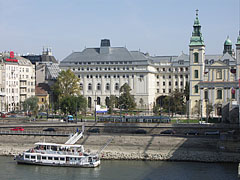 The Március 15 Square on the downtown Danube bank, viewed from the Elisabeth Bridge - Budapest, Hungary