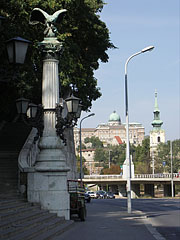 Stairs from the Elizabeth Bridge up to the hill, and in addition the Buda Castle can be seen in the distance  - Budapest, Hungary