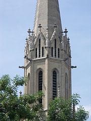 One of the towers of the St. Elizabeth Parish Church in Erzsébetváros quarter - Budapest, Hungary