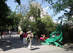 "Green iron dragon in front of the ""Magical Hill"" (Great Rock) - Budapest, Hungary"
