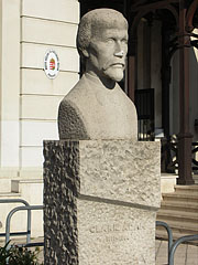 Bust statue of Adam Clark in front of the Transportation Museum - Budapest, Hungary