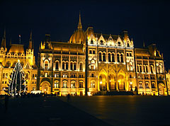 The night lighting of the Hungarian Parliament Building before Christmas - Budapest, Hungary