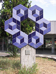 Sculpture made of Zsolnay ceramic tiles in the square in front of the railway station (created by Victor Vasarely in 1986) - Budapest, Hungary