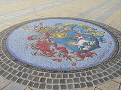 Coat of arms of Debrecen on the floor decoration at the main square - Debrecen, Hungary