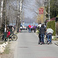 The spring sunlight lured many people to the riverside promenade to have a walk - Dunakeszi, Hungary