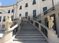 Grand staircase up to the balcony with stone putto statues on the railing - Fertőd, Hungary