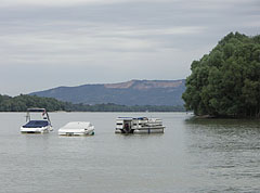 The Danube and the Naszály Mountain, viewed from the waterfront in Alsógöd - Göd, Hungary