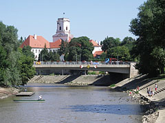 "The Rába Double Bridge (""Kettős híd"") over River Rába, and the tower of the Bishop's Caste (""Püspökvár"") in the distance - Győr, Hungary"