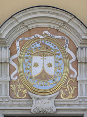 Crest (coat of arms) of the Order of Carmelites on the main facade of the Carmelite Church - Győr, Hungary