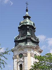 The neo-baroque church tower (steeple and spire) of the King St. Stephen's Church - Hatvan, Hungary