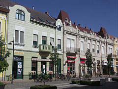 Beautifully renovated two-storey residental buildings on the street that is transformed to a pedestrian only zone - Hódmezővásárhely, Hungary